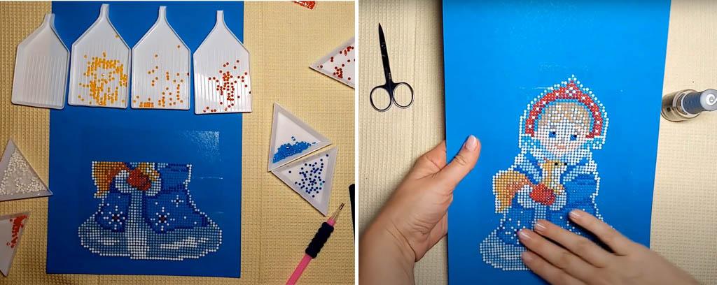 Пример изготовления ёлочной игрушки. Шаг 4. Заканчиваем рисунок