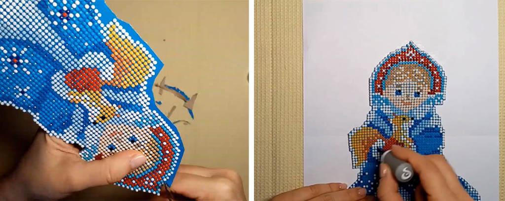 Пример изготовления ёлочной игрушки. Шаг 5. Аккуратно вырежем рисунок и покроем его лаком.