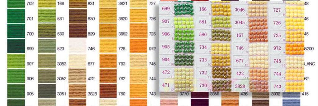 цветовая таблица DMC для организации хранения страз, оставшихся от алмазной мозаики