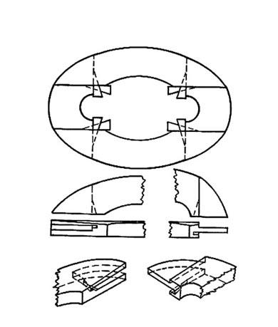 схема соединения овального подрамника